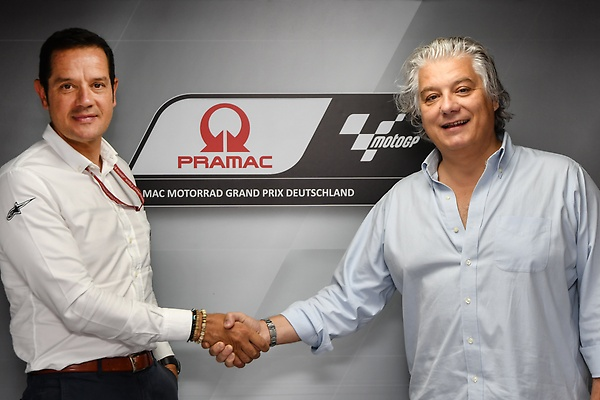 Paolo Campinoti (PRAMAC CEO) and Pau Serracanta (Dorna) - after agreeing for PRAMAC as the GermanGP Title Sponsor