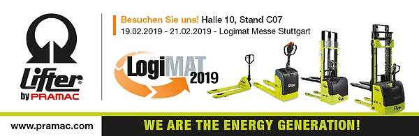 Pramac goes back to Logimat 2019 with its Lifter by Pramac brand. Come meet us!